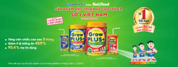 Sữa Growplus cho trẻ suy dinh dưỡng